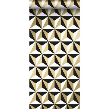 papier peint motif graphique or brillant, blanc et noir