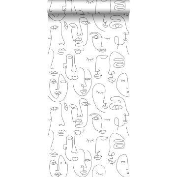 papier peint visages noir et blanc