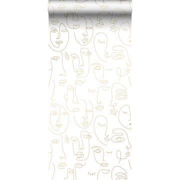 papier peint visages blanc et or brillant