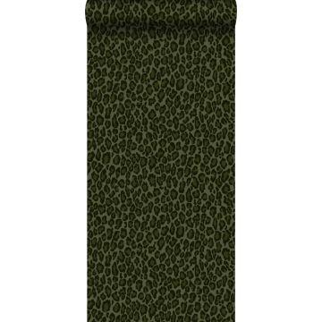 papier peint peau de léopard vert foncé