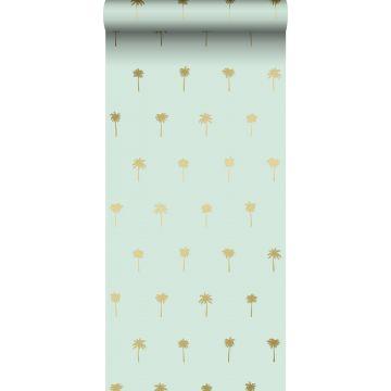 papier peint palmiers vert menthe et or
