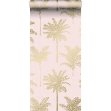 papier peint palmiers rose clair et or