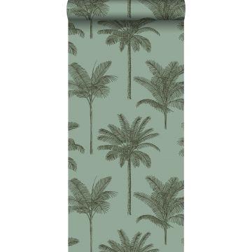 papier peint palmiers vert grisé