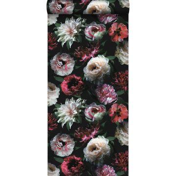 papier peint fleurs rose, noir et vert foncé