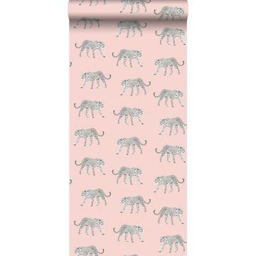 papier peint léopards rose clair