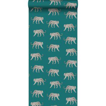 papier peint léopards bleu canard