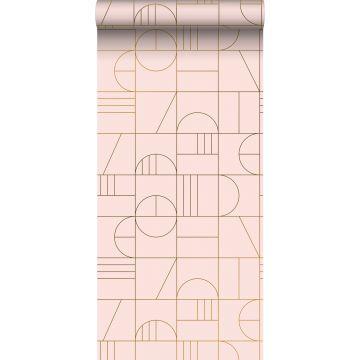 papier peint art déco rose clair et or