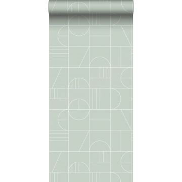 papier peint art déco vert menthe et blanc