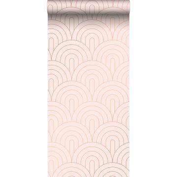 papier peint art déco rose clair et or rose