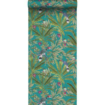 papier peint feuilles de la jungle tropicale et oiseaux de paradis bleu canard et vert jungle