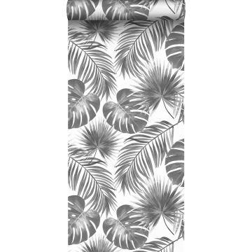 papier peint feuilles tropicales noir et blanc