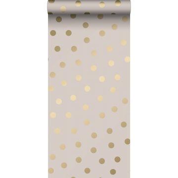 papier peint à motif de petits points rose clair et or