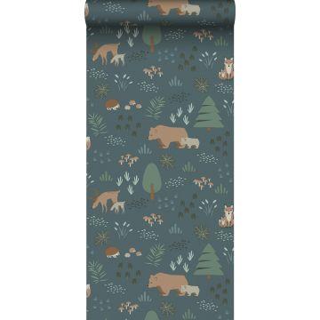 papier peint forêt avec des animaux de la forêt bleu gris, vert et beige