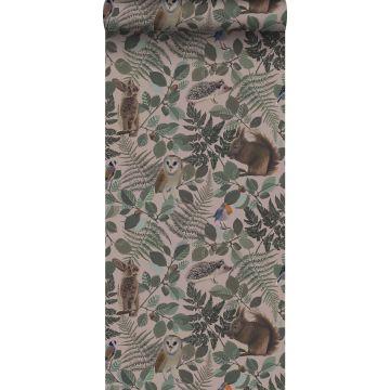 papier peint animaux de la forêt vieux rose, vert et marron