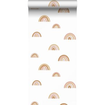 papier peint arcs en ciel terracotta, rose clair et beige