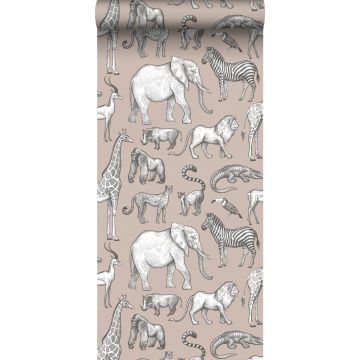 papier peint animaux de la jungle vieux rose et gris