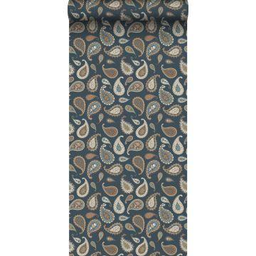 papier peint paisleys bleu foncé, beige et vert menthe