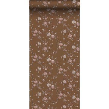 papier peint fleurs brun rouille et rose