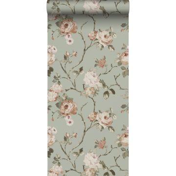 papier peint fleurs vintage vert menthe grisé et rose clair