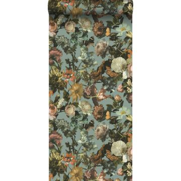 papier peint fleurs bleu gris