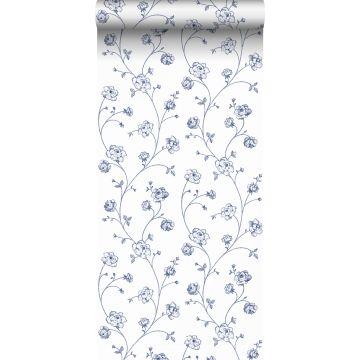 papier peint roses en Toile de Jouy blanc et bleu