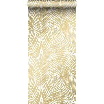 papier peint feuilles de palmier or et blanc