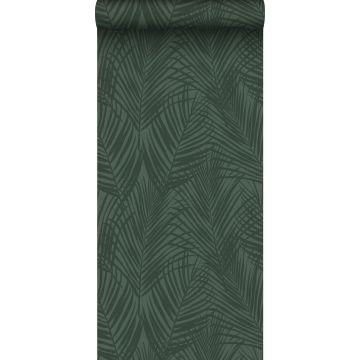 papier peint feuilles de palmier vert foncé