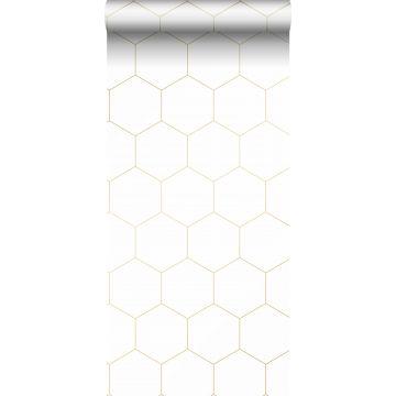 papier peint hexagone blanc et or