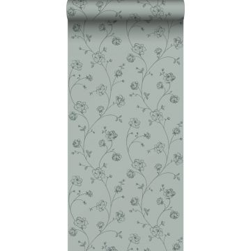 papier peint roses en Toile de Jouy vert grisé