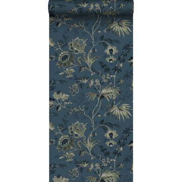 papier peint fleurs vintage bleu foncé et vert olive grisé