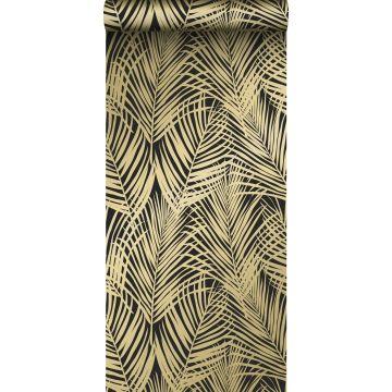 papier peint feuilles de palmier noir et or