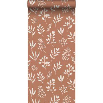 papier peint fleurs au style scandinave terracotta et blanc