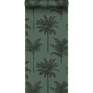 papier peint palmiers vert foncé