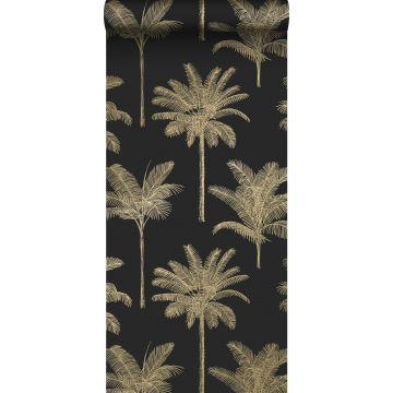 papier peint palmiers noir et or