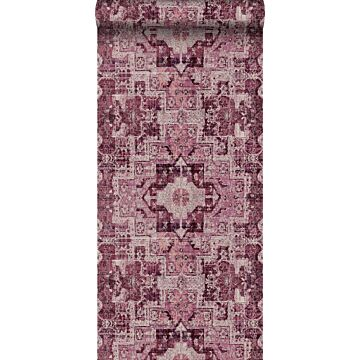 papier peint tapis patchwork kilim oriental bordeaux
