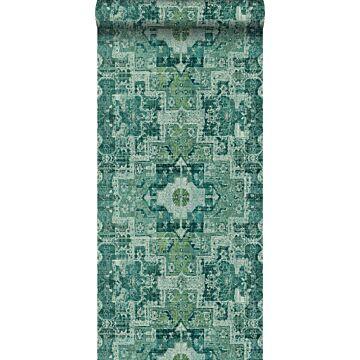 papier peint tapis patchwork kilim oriental vert émeraude intense
