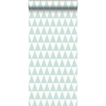 papier peint triangles géométriques graphiques vert menthe pastel clair grisé et blanc mat