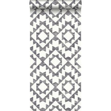 papier peint tapis Marrakech noir et blanc mat