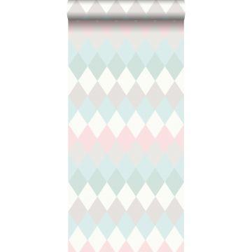 papier peint rayure horizontal de rhombes à structure de lin vert menthe pastel, rose poudre clair et gris chaud clair