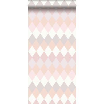 papier peint rayure horizontal de rhombes à structure de lin rose pêche et nuances roses lilas