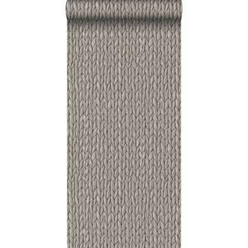 papier peint osier tissé gris chaud grisé