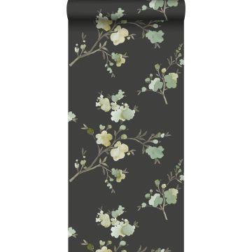 PP intissé éco texture fleurs de cerisier vert, jaune ocre et noir