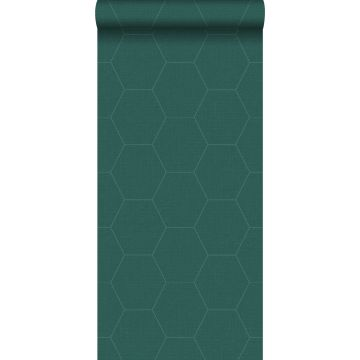 papier peint hexagone vert pétrole