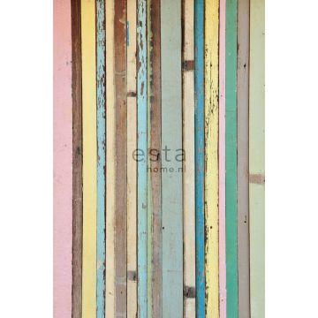 papier peint panoramique bois peint rose clair, jaune, bleu et vert