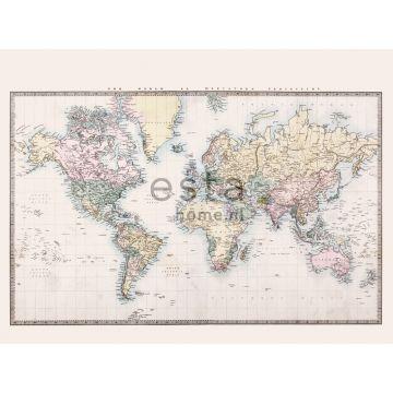 papier peint panoramique carte du monde vintage beige, jaune pastel, rose poudre clair et vert