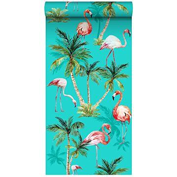 papier peint intissé XXL flamants Roses turquoise, vert et rose