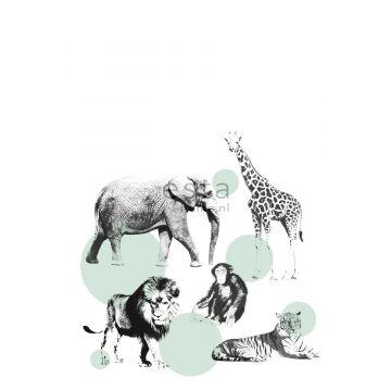 papier peint panoramique animaux vert menthe