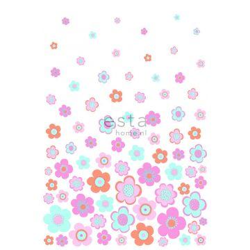 papier peint panoramique fleurs vintages turquoise, rose et violet