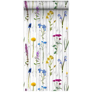 papier peint intissé XXL fleurs des champs sur des planches en bois rétro vintage gris chaud clair, jaune, bleu et rose bonbon