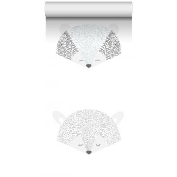 papier peint intissé XXL têtes d'animaux gris clair et noir